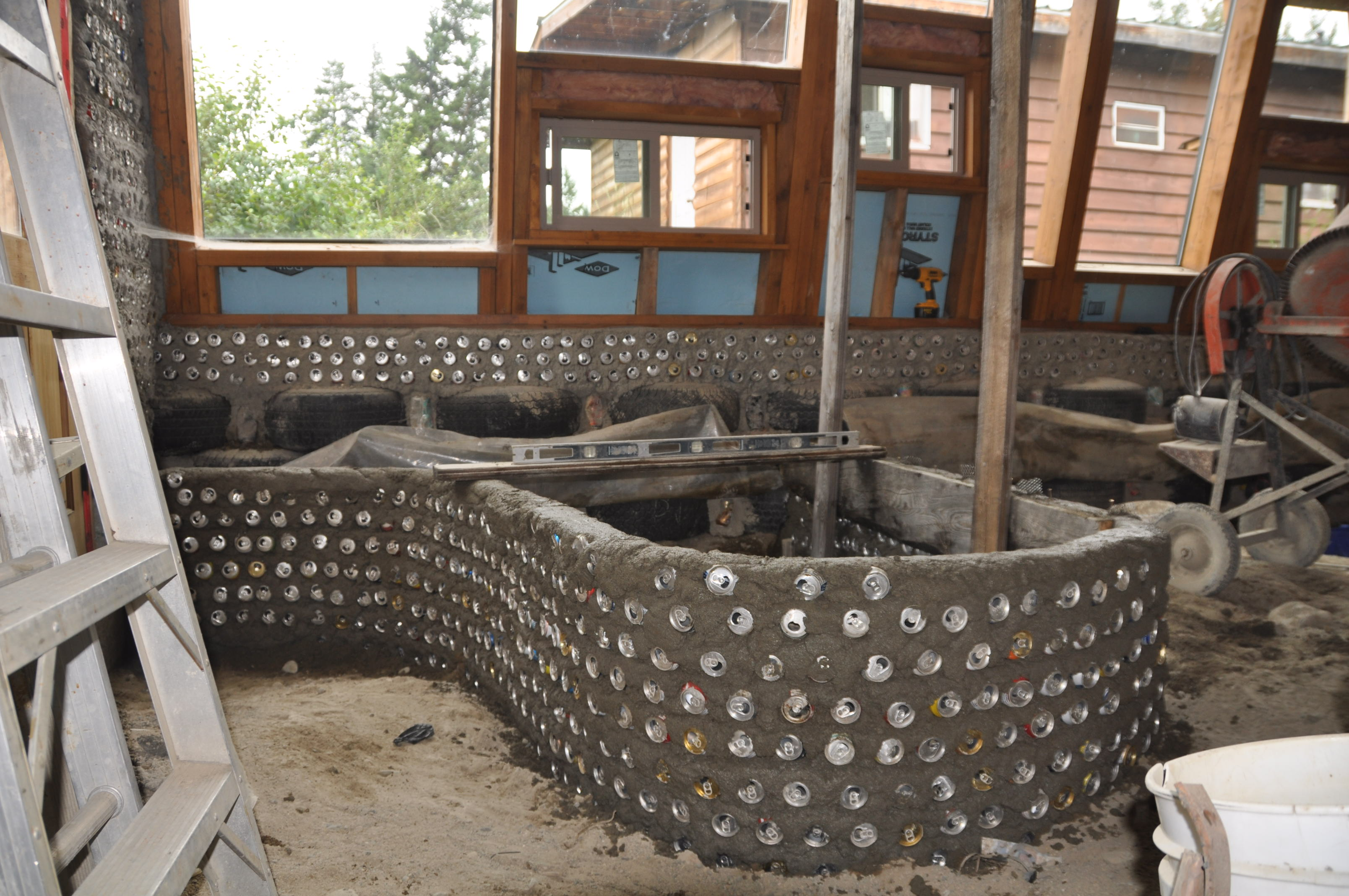 Laying Out Grey Water Planters and Plumbing for the Earthship