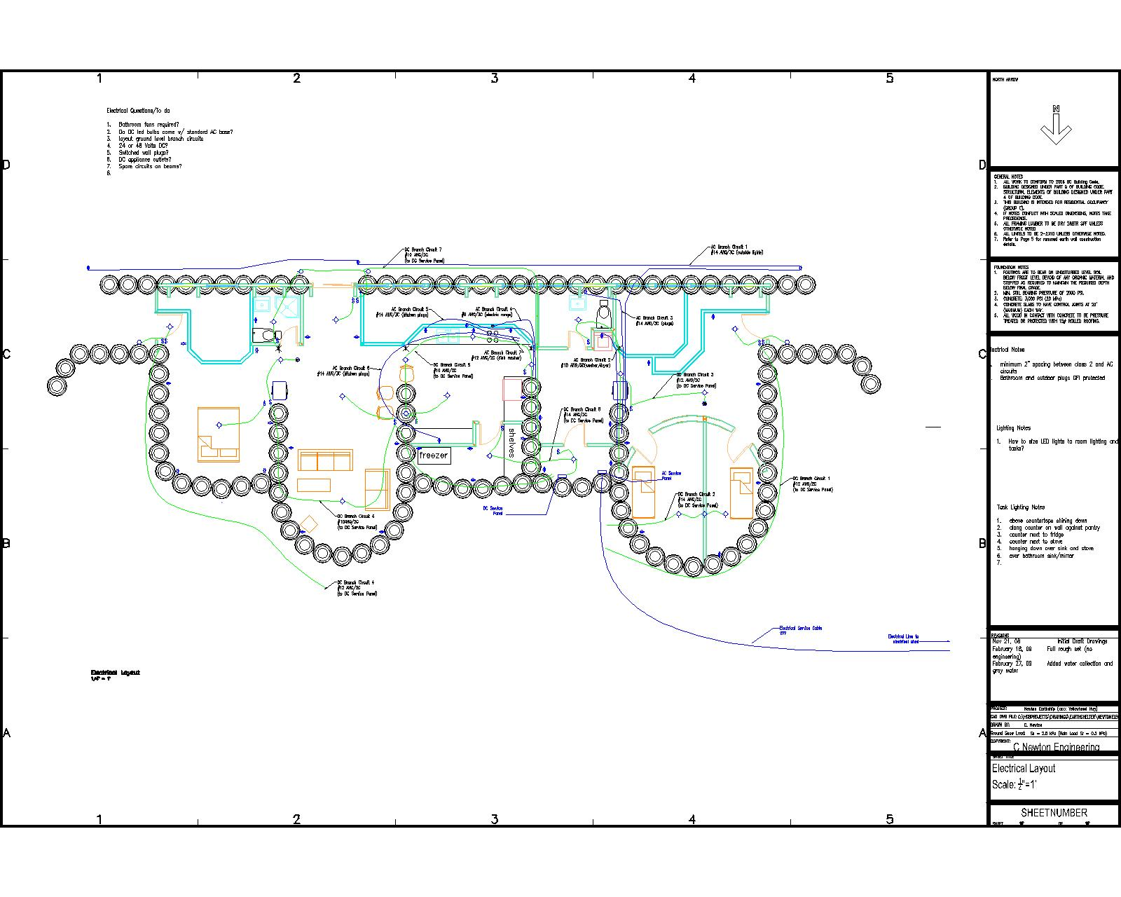 Basic Electrical Layout – Earthship Home Floor Plans